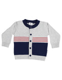 Korango Fire Truck Cardigan - Grey Marle/Navy/Red