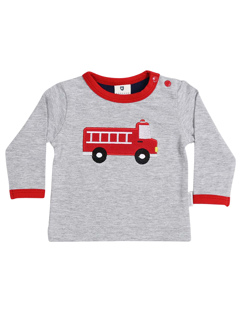 Korango Fire Truck Top with Applique - Grey Marle