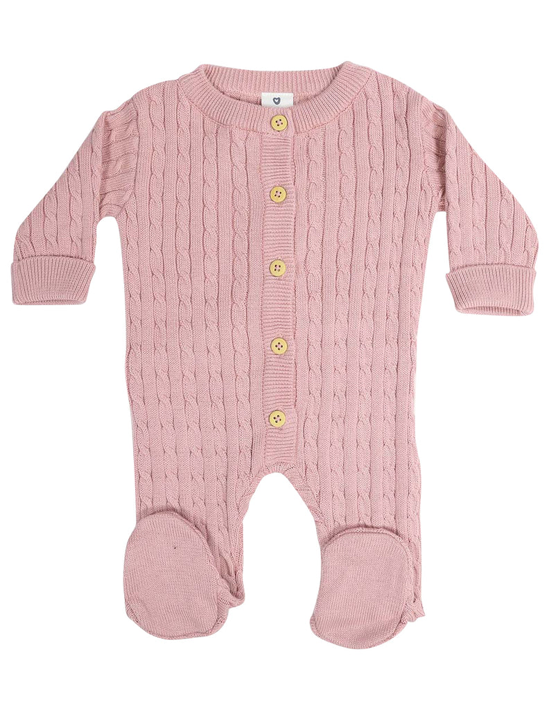 Korango Classique Girl Cable Knit Romper - Dusty Pink