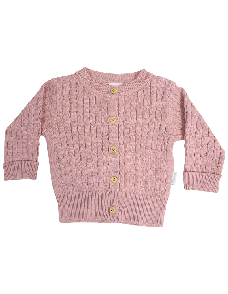 Korango Classique Girl Cable Knit Cardigan - Dusty Pink