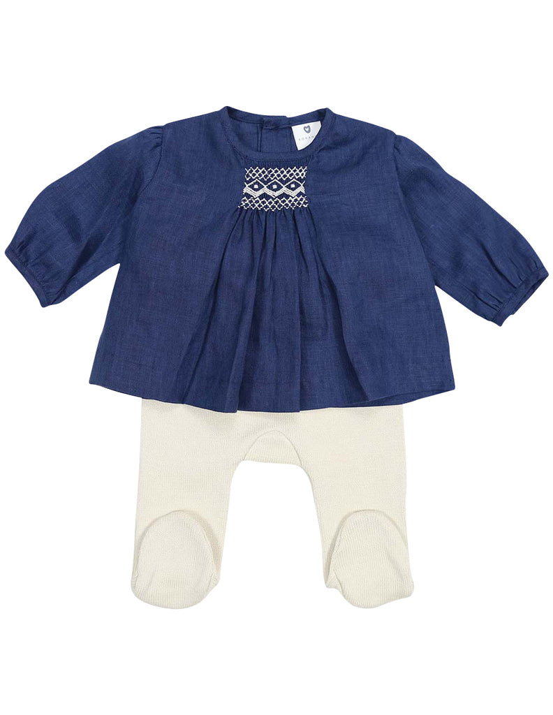 Korango Classique Girl Lined Hand Smocked Blouse with Knit Leggings - Navy/Beige