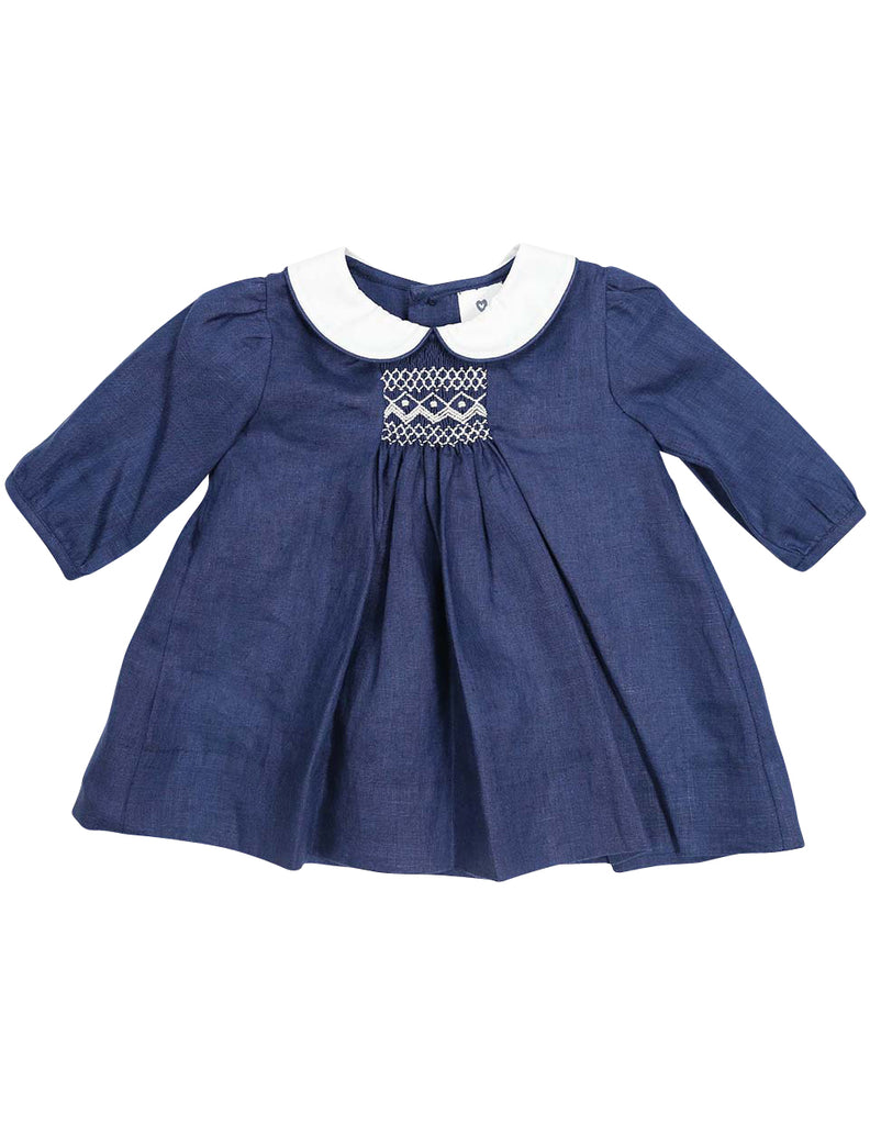 Korango Classique Girl Lined Hand Smocked Dress with Collar - Navy