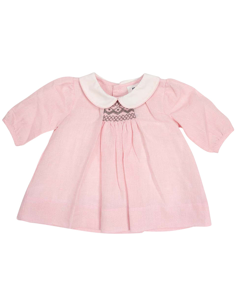 Korango Classique Girl Lined Hand Smocked Dress with Collar - Pink