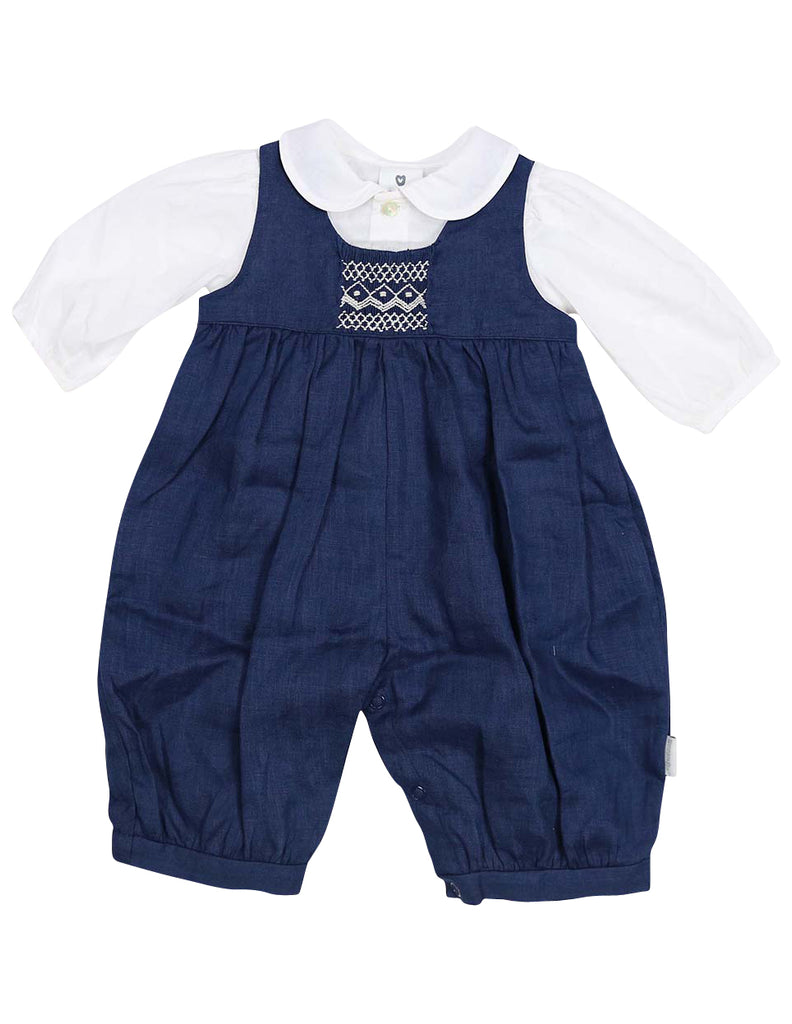 Korango Classique Girl Lined Hand Smocked Overall with Blouse - Navy