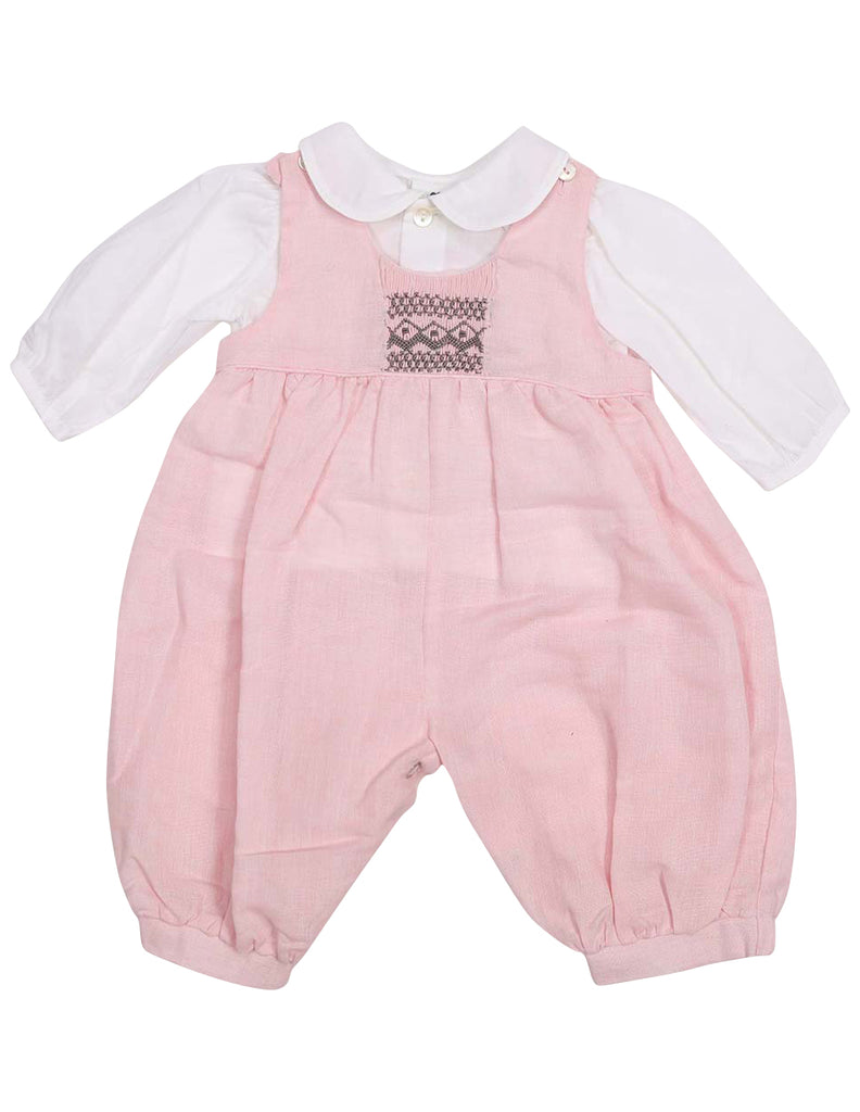 Korango Classique Girl Lined Hand Smocked Overall with Blouse - Pink