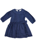 Korango Vamos Vintage Girls Linen Collared Dress - Navy