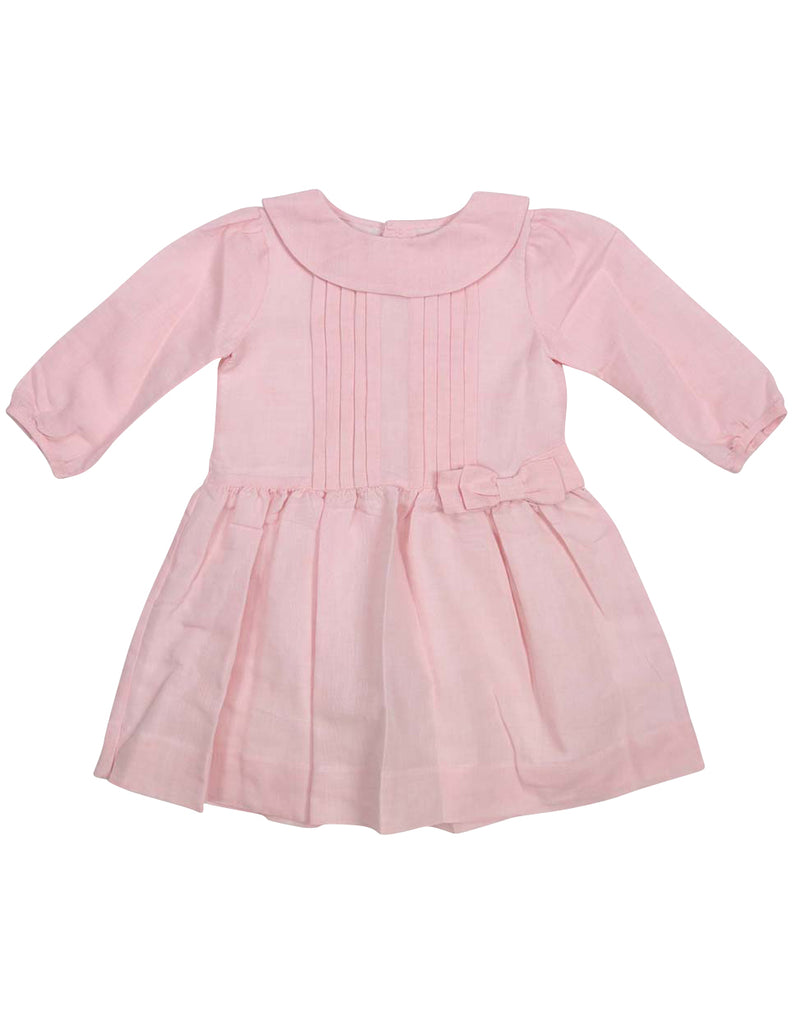 Korango Vamos Vintage Girls Linen Collared Dress - Pink