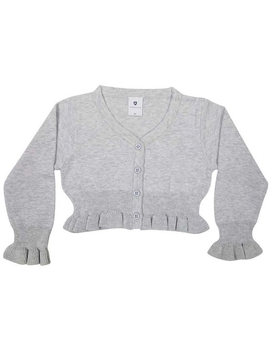 Korango L/S Crop Cardigan in Grey Marle