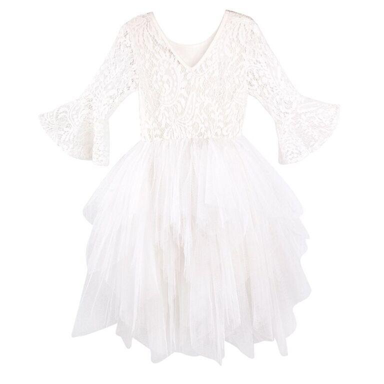 Designer Kidz Stevie Bell-Sleeve Dress - Ivory