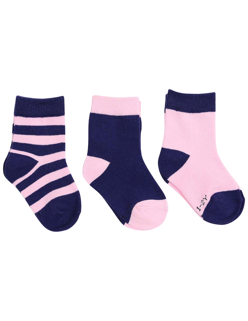 Korango Essentials 3 Pack Socks - Pink/Navy