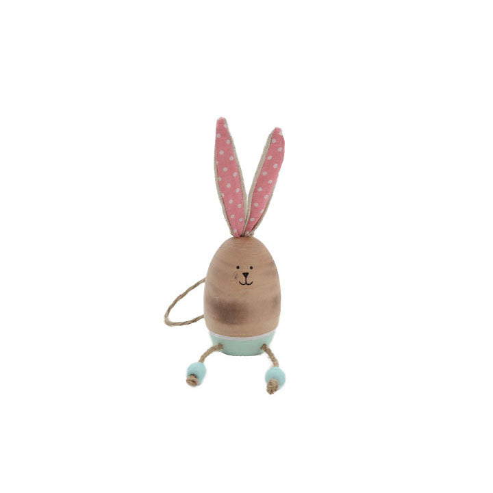 Wooden Oval Blue Bunny