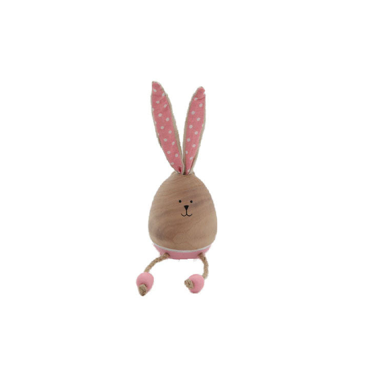 Wooden Oval Pink Bunny