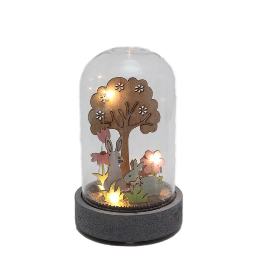 Light Up Glass Dome Bunnies in the Forest