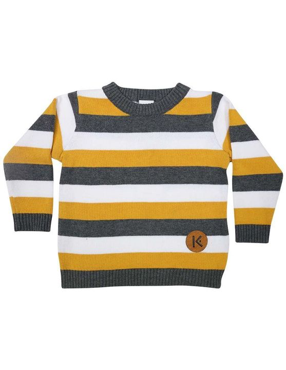 Korango Fighter Jet Striped Sweater in Mustard/White/Charcoal Stripe
