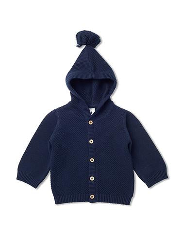 Walnut GABLE KNIT HOOD CARDI NAVY