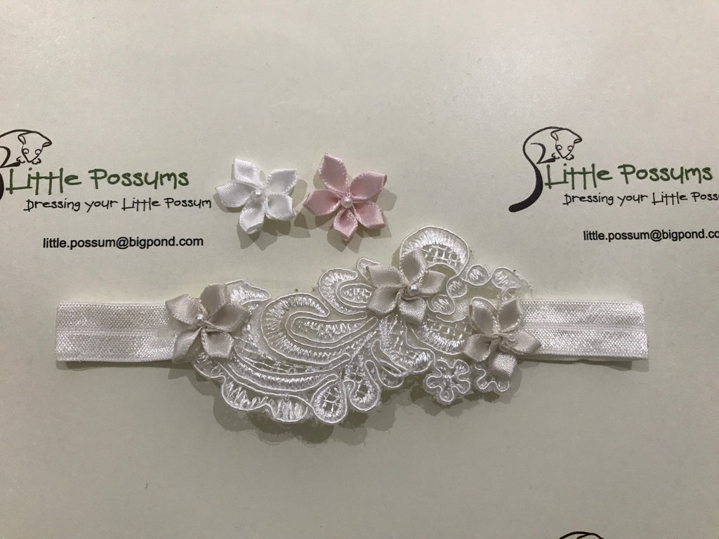Little Possums Antique 3 Daisy Lace Headband
