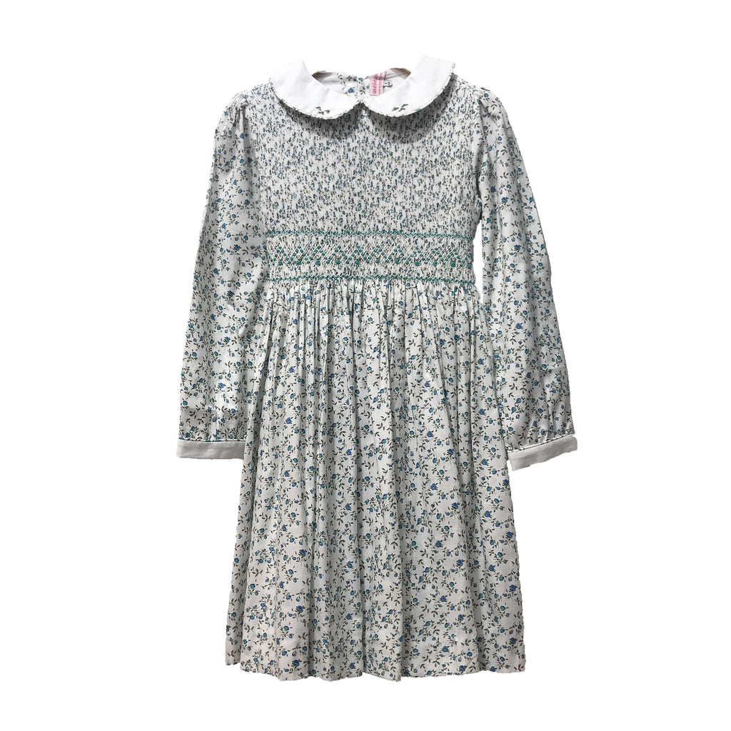 Meleze Hand Smocked Dress in Blue/Green Floral (Size 2-8Y)
