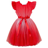 Designer Kidz Angel Sparkle S/S Tutu Dress in Red (Size 2-7)