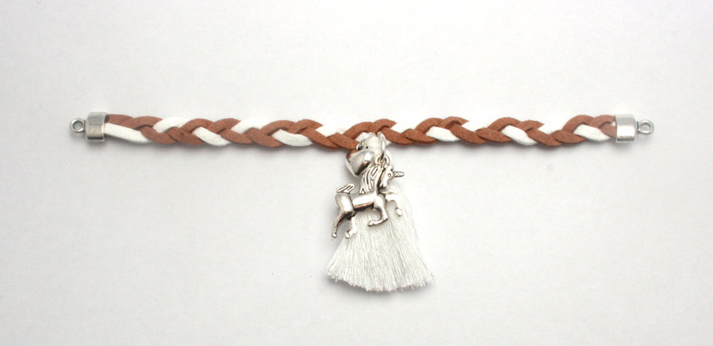 La Miniature- Unicorn Charm on Beige & White Suede Bracelet - Sweet Thing Baby & Childrens Wear
