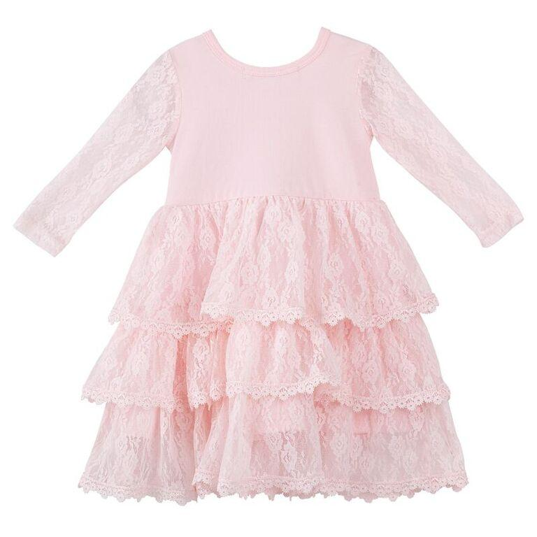 Designer Kidz Candice L/S Lace Dress in Pink