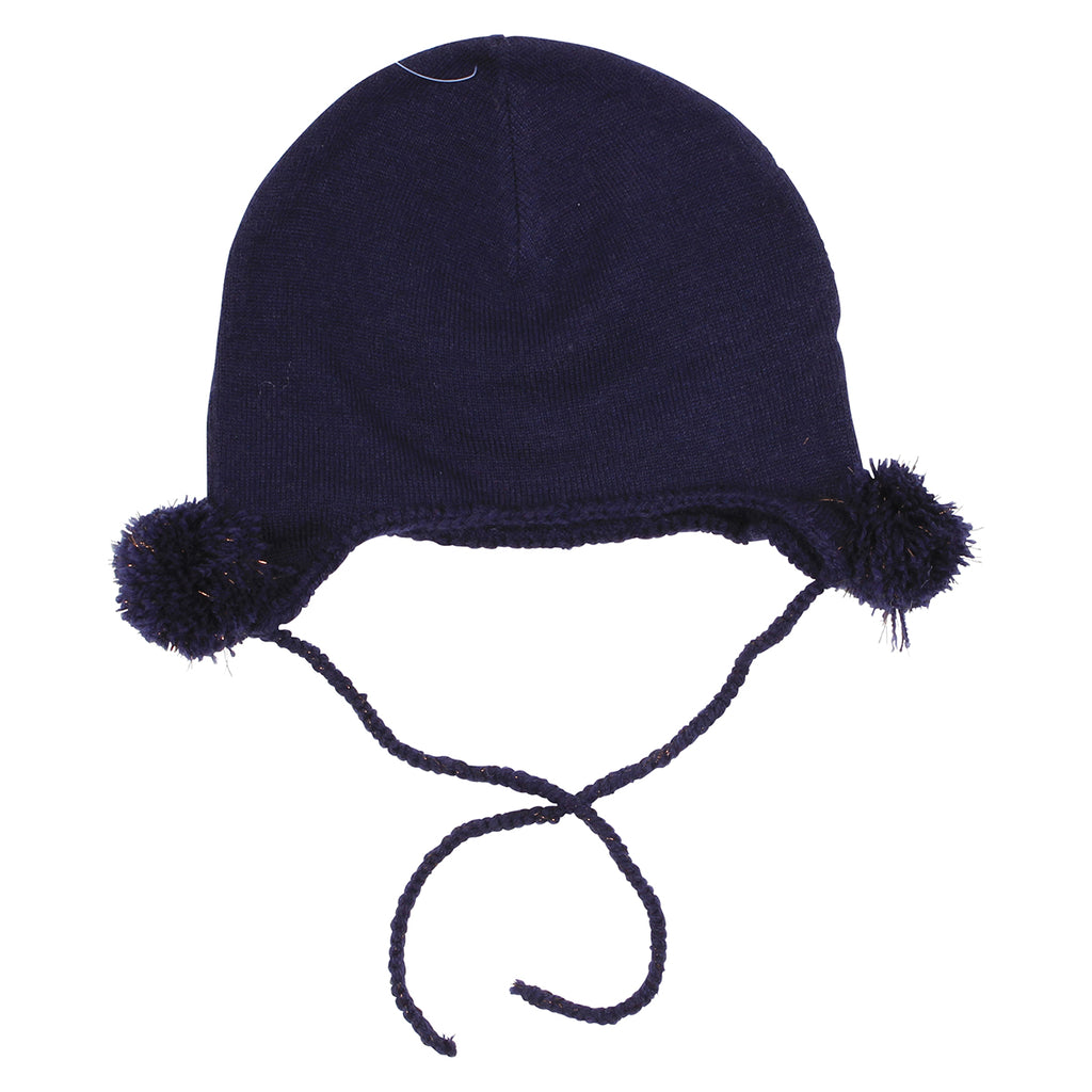 Fox & Finch Side Pom Pom Beanie- Navy