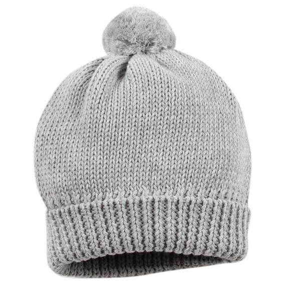Bebe Aiden Riley Beanie with Pom Pom in Grey Marl - KYW16-346 - Sweet Thing Baby & Childrens Wear