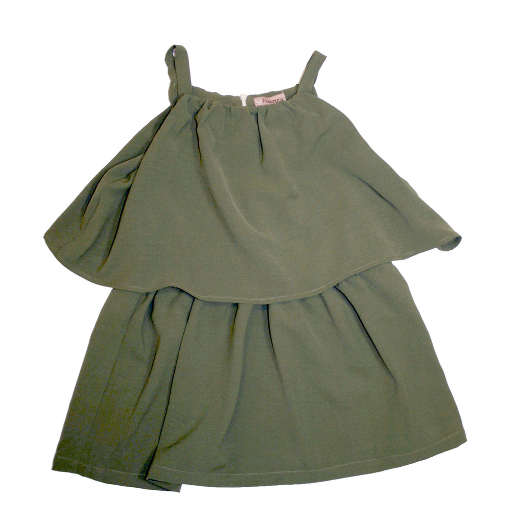 Love Henry Girls Tiered Dress - Olive
