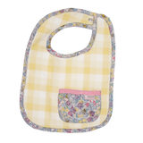 Love Henry Baby Girls Pocket Bib - Yellow Gingham