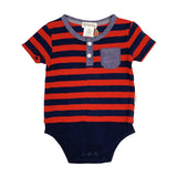 Love Henry Baby Boys Grandpa Romper - Navy/Red Stripe (Size NB-2)