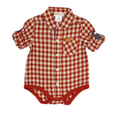 Love Henry Baby Boys Shirt Romper - Red Gingham (Size NB-2)