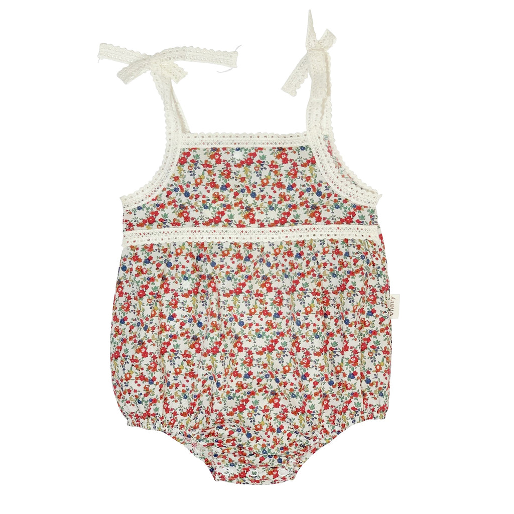 Love Henry Baby Girls Tie Straps Romper - Christmas Floral (Size NB-2)