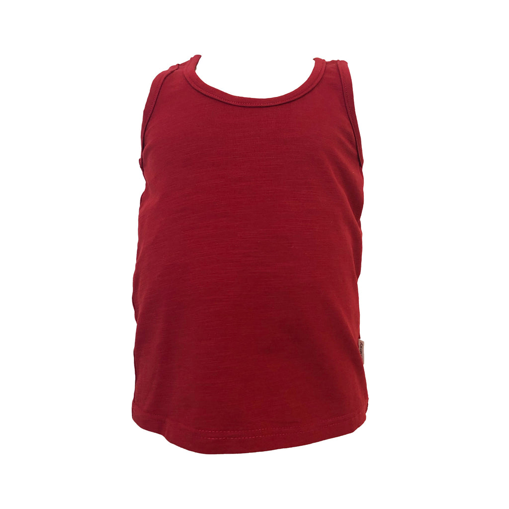 Love Henry Girls Zip Back Singlet Top - Red (Size 3-12)
