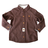 Love Henry Boys Large Gingham Check Shirt - Brown