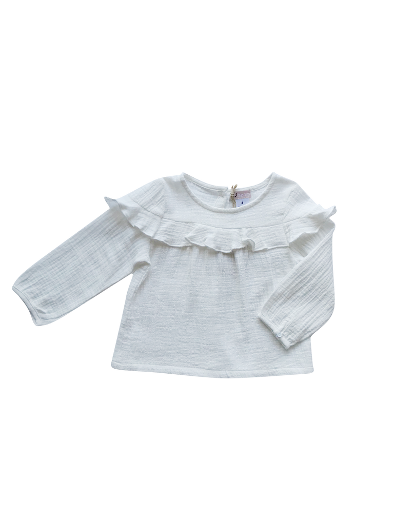 Love Henry Baby Girls Frill Bodice Top - White