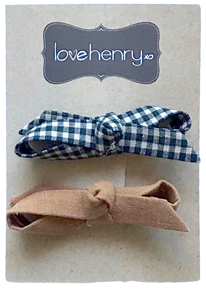 Love Henry Girls Hair Clips - Navy Gingham/Bronze