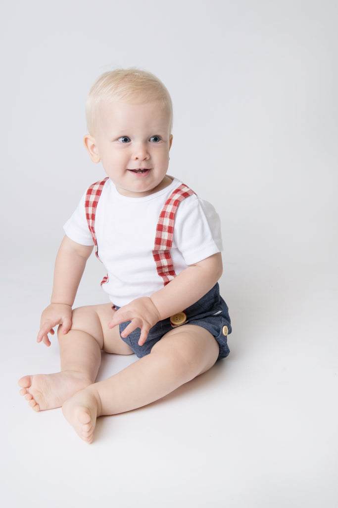 Love Henry Baby Boys Digby - Chambray/Red Gingham (Size NB-2)