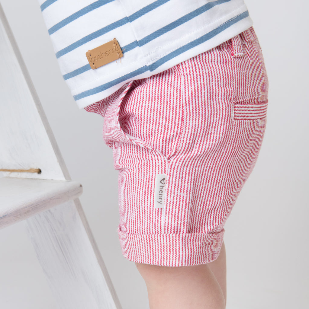 Love Henry Baby Boys Dress Shorts - Red Stripe (Size NB-2)