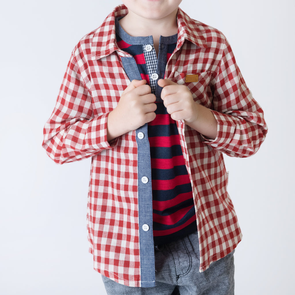 Love Henry Boys Dress Shirt - Red Gingham (Size 3-12)