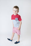 Love Henry Boys Pocket Tee - Red/Blue Stripe (Size 3-12)