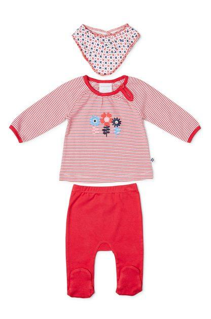 Marquise Top, Leggings & Bib 3pce Red/White Set