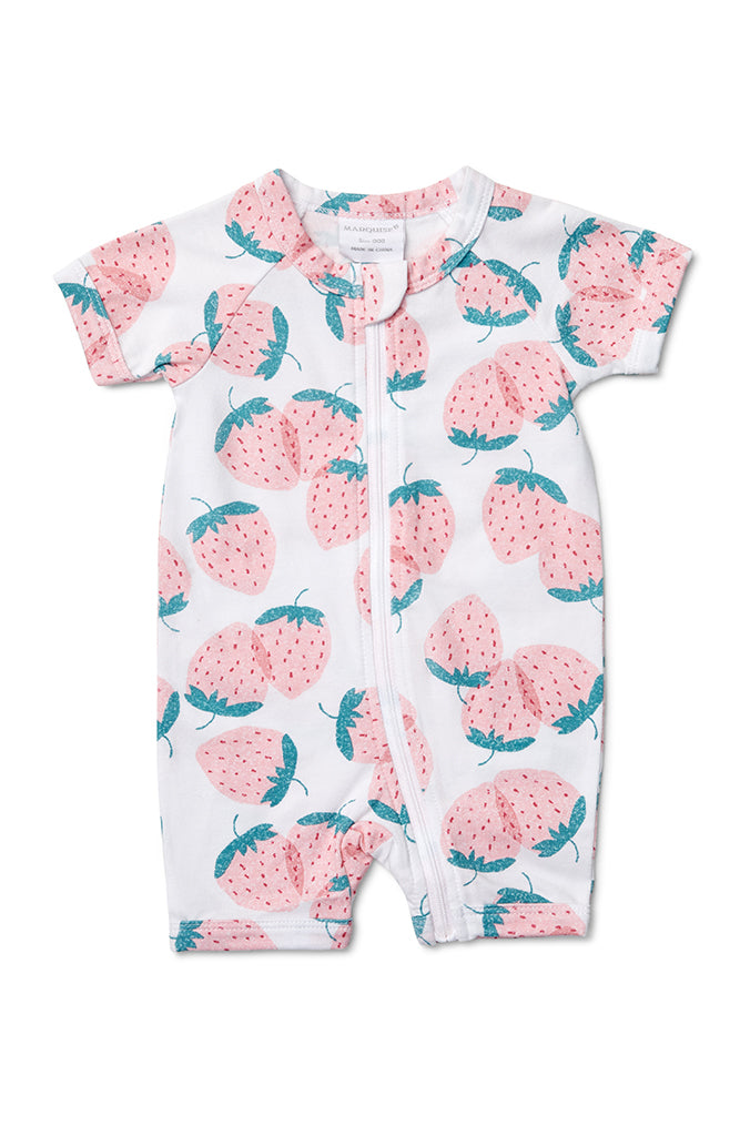 Marquise Girls S/S Zip Romper Strawberries (Size NB-1)