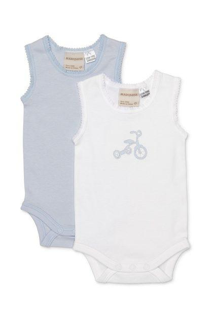 Marquise 2 x Pack singlet style bodysuit - Trike embroidery - Sweet Thing Baby & Childrens Wear