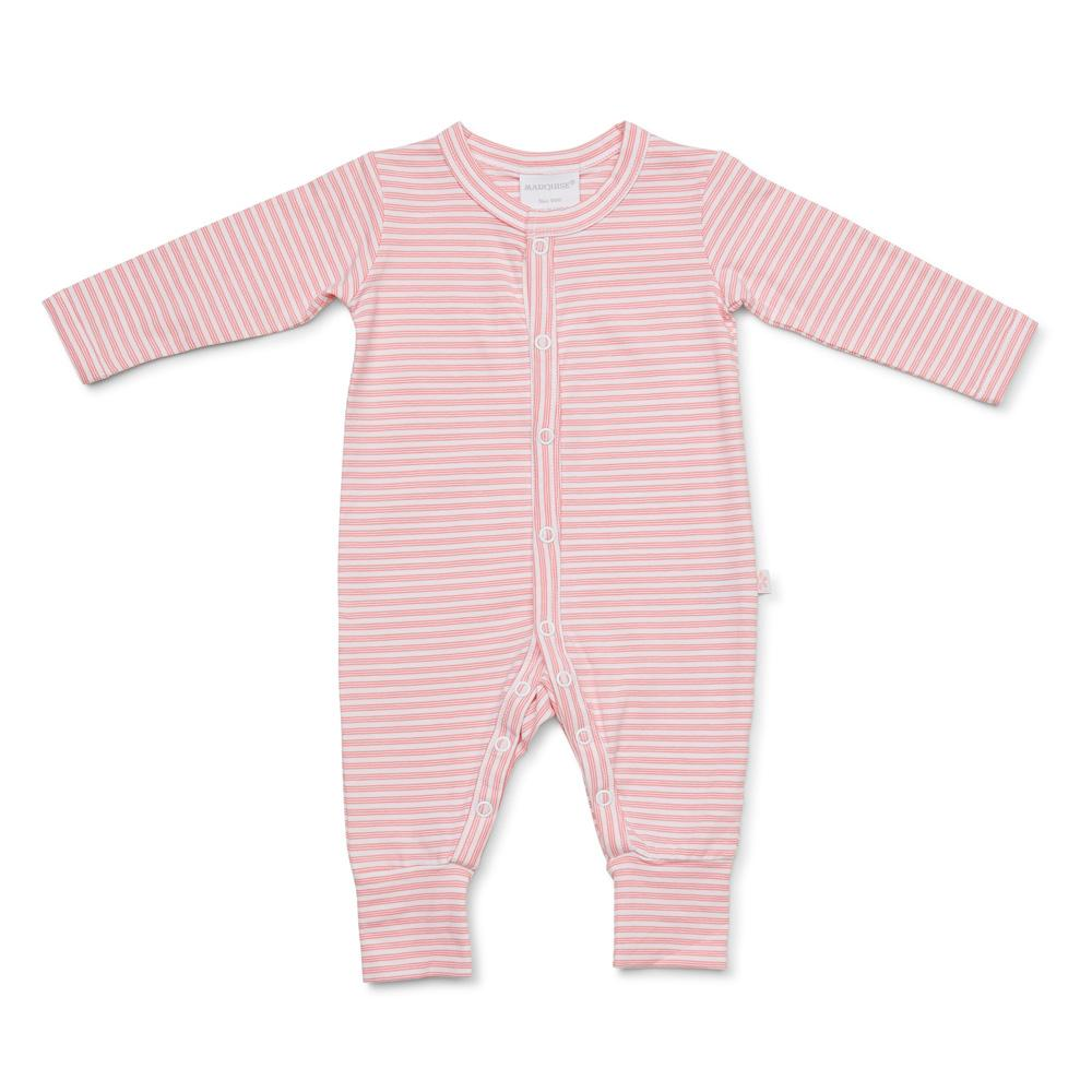 Marquise Girls Footless Zip Growsuit - Pink Stripe