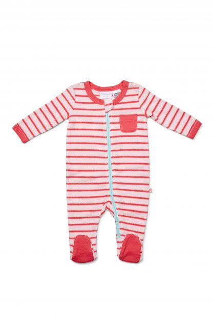 Marquise Terry Zipsuit - Pink Stripe