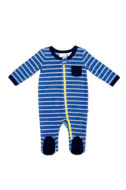 Marquise Terry Towelling Zipsuit - Blue Stripe