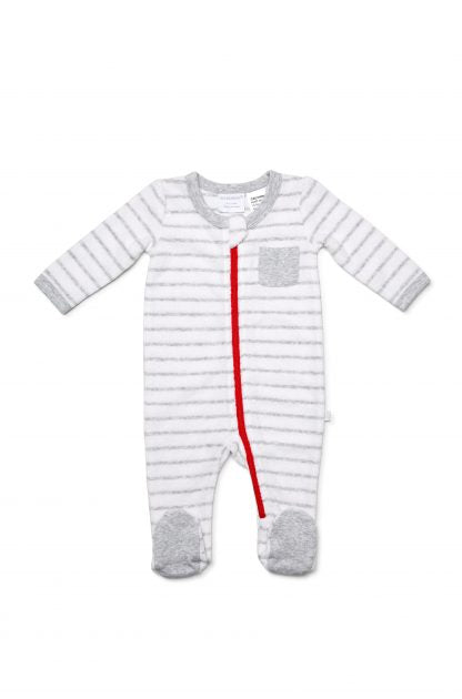 Marquise Boys Terry Stripe Zipsuit -  Grey/White