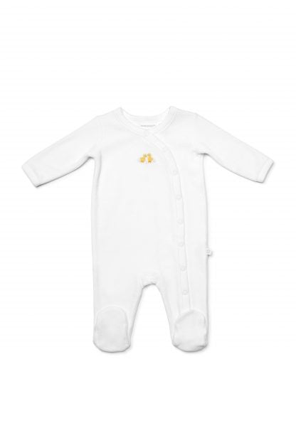 Marquise Velour Chicks Studsuit - White