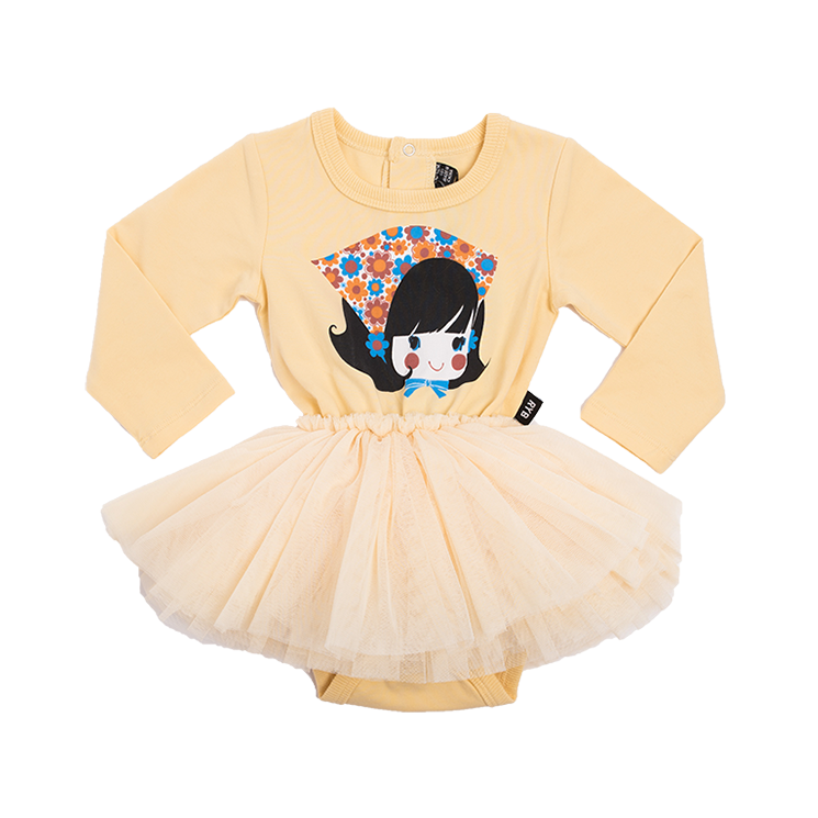Rock Your Baby Gidget L/S Circus Dress - Pale Mustard