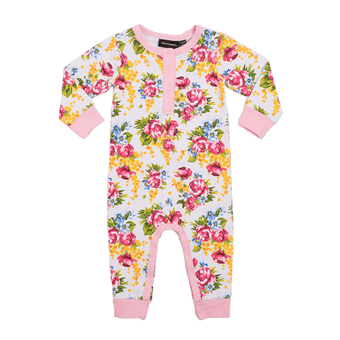 Rock Your Kid Pink Rose Romper in Dusty Pink