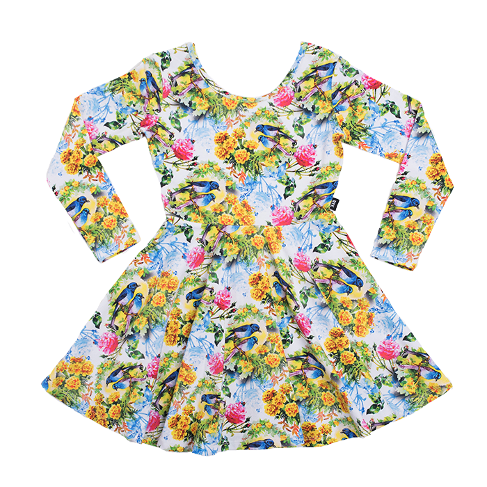 Rock Your Baby Bird Bloom L/S Mabel Dress - White